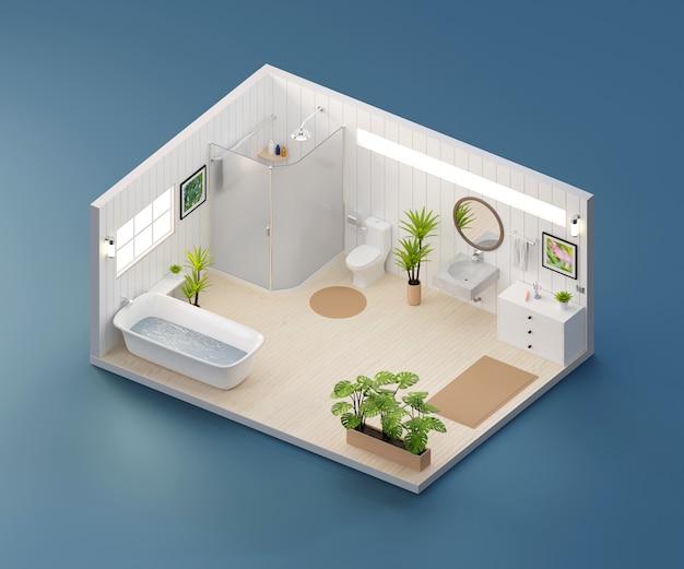 等角図のバスルームインテリア建築、3 dレンダリング内で開きます。