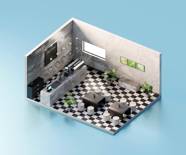 等角図のカフェストアは、内部の建築、3 dレンダリング内で開いています。