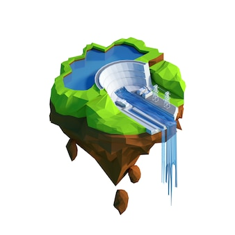 Isometric view low poly hydroelectricity power station concept.