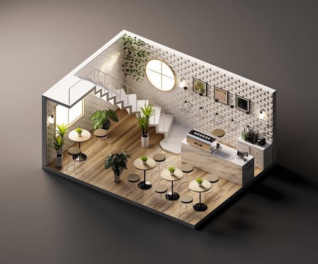 Изометрический вид минимальный магазин кафе открыт внутри внутренней архитектуры, 3d-рендеринг.