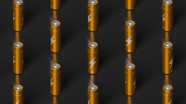 Aaゴールデンバッテリーの整理された列の等角図。 3dレンダリングイラスト