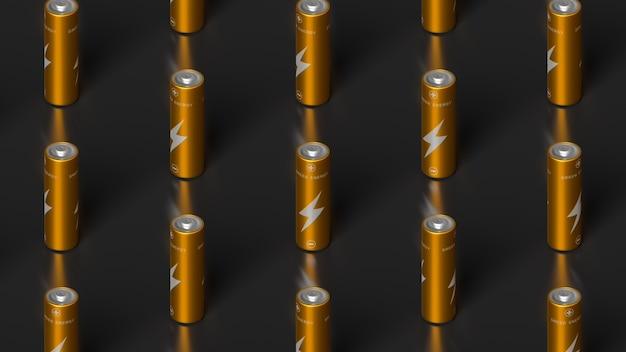 Vista isometrica su file organizzate di batterie dorate aa. illustrazione di rendering 3d
