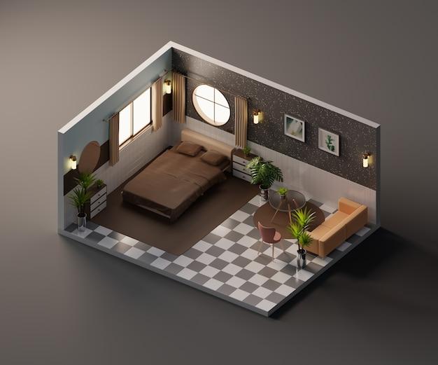 아이소 메트릭 뷰 빈티지 침대 룸 인테리어 건축 3d 렌더링 안에 열려