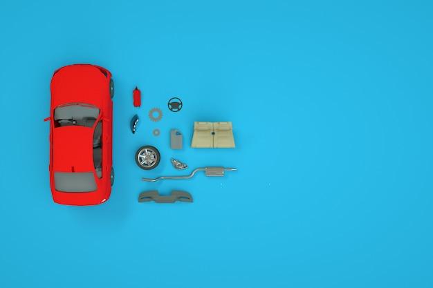 車とそのスペアパーツの等尺性体積モデル。車の修理、スペアパーツが近くにあります。青い背景の上の赤い車。上面図。 3dコンピュータグラフィックス