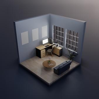Изометрические рабочая комната интерьер 3d-рендеринга.