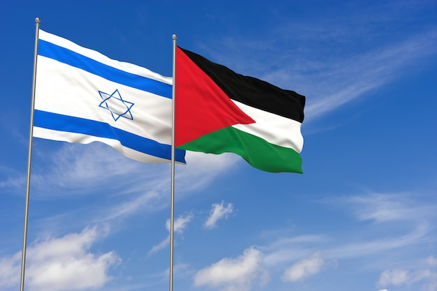 Флаги израиля и палестины на фоне голубого неба. 3d иллюстрации