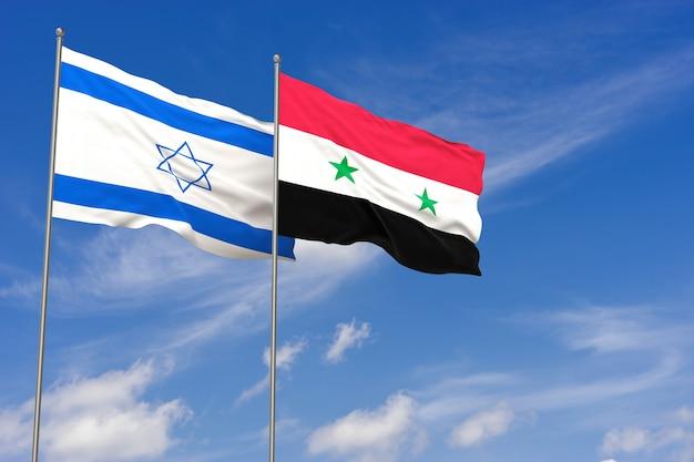 푸른 하늘 배경 위에 이스라엘과 시리아 플래그입니다. 3d 일러스트레이션