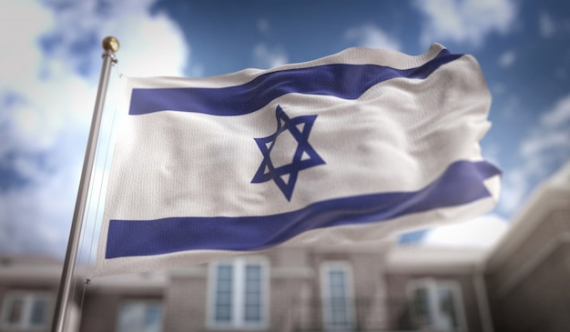 Israel flag 3d rendering on blue sky building background
