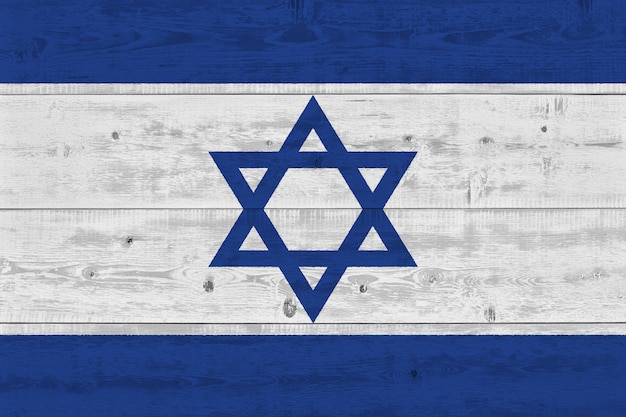 Israel flag painted on old wood plank