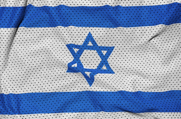 Israel flag printed on a polyester nylon sportswear mesh fabric