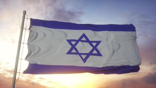 Israel flag waving in the wind. national flag of israel. 3d rendering.