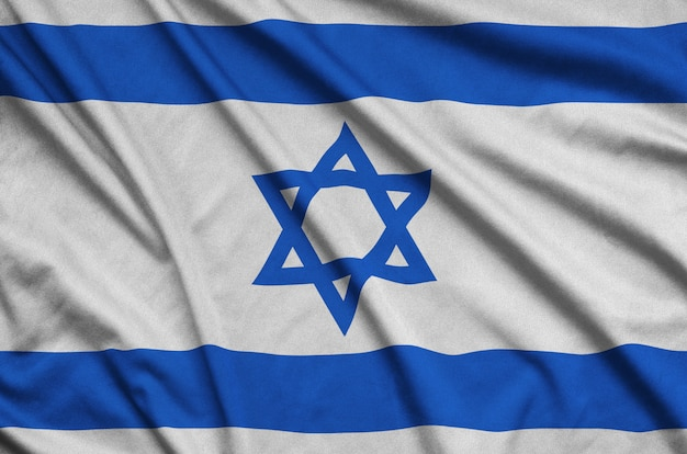 Israel flag with many folds.