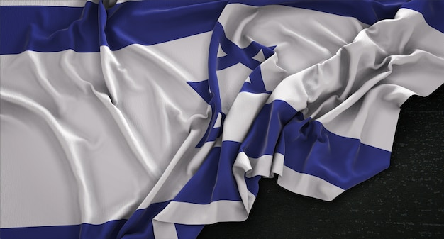 Israel flag wrinkled on dark background 3d render