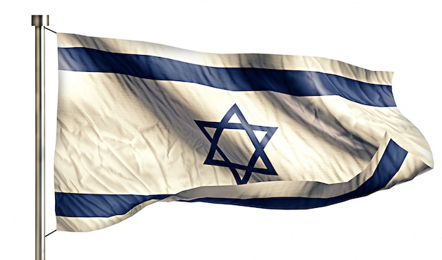 Israel national flag isolated 3d white background