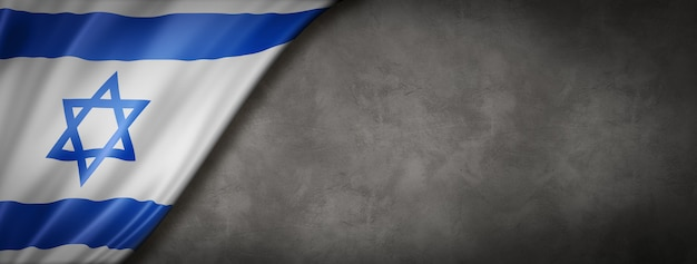 Israeli flag on concrete wall