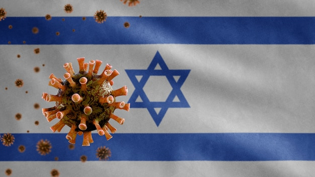 Развевающийся израильский флаг и концепция ncov от коронавируса 2019.