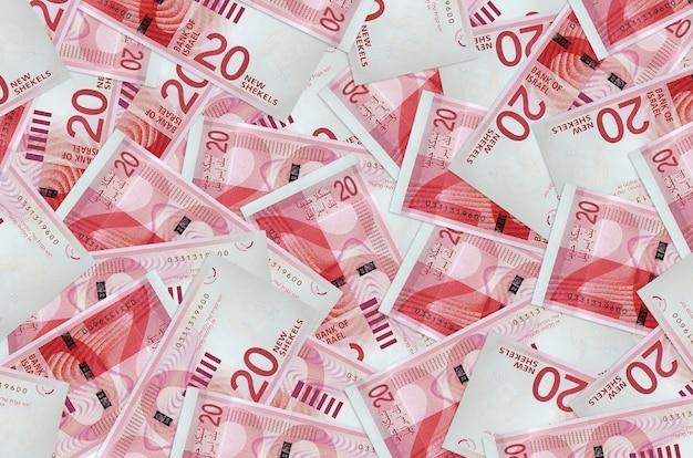 Israeli new shekels bills lies in big pile