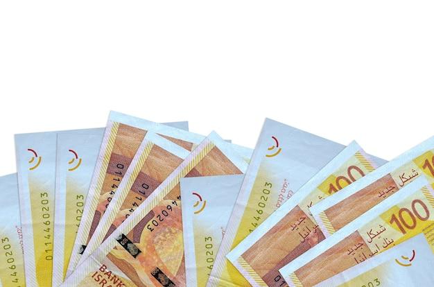Israeli new shekels bills lies on bottom side of screen isolated