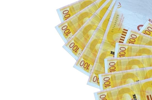 Israeli new shekels bills lies isolated on white