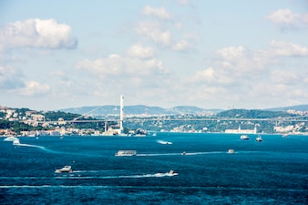 Istanbul's ocean scene with cruise ship