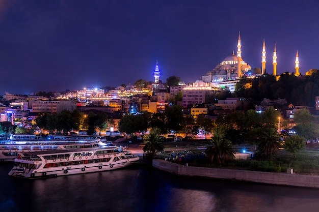 Istanbul panorama at night with a mosque. istanbul, turkey.