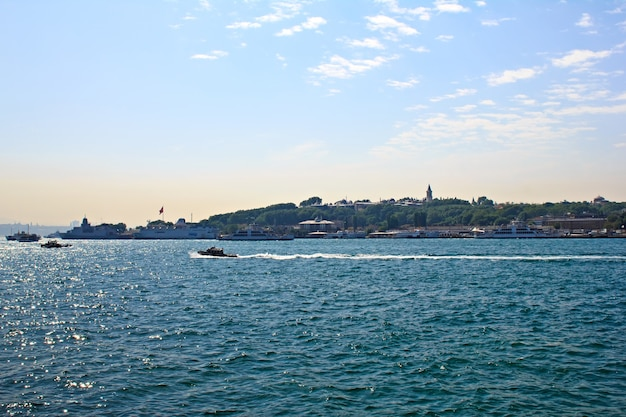 Istanbul seascape - daytime view with city lines boats