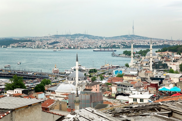 Istanbul, turkey, 05/22/2019: beautiful view of the bosphorus from the roof. industrial eastern city.