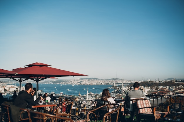 Istanbul, turkey. the view of the bosphorus from the cafe on hill near suleymaniye camii mosque.