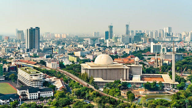 Istiqlal mosque in jakarta, indonesia. the largest mosque in southeast asia