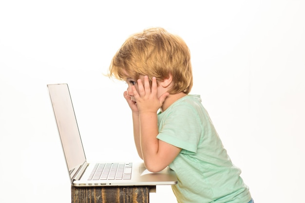 It education cute little kid boy studying or playing game with laptop children education learning