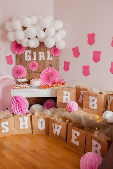 It's a girl. baby shower. decoration for party.