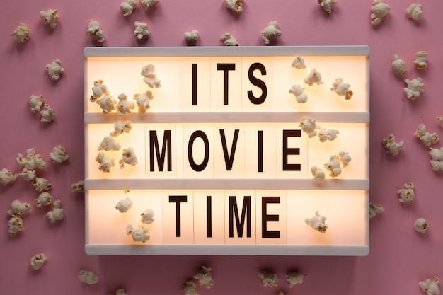 It's movie time illuminated lettering