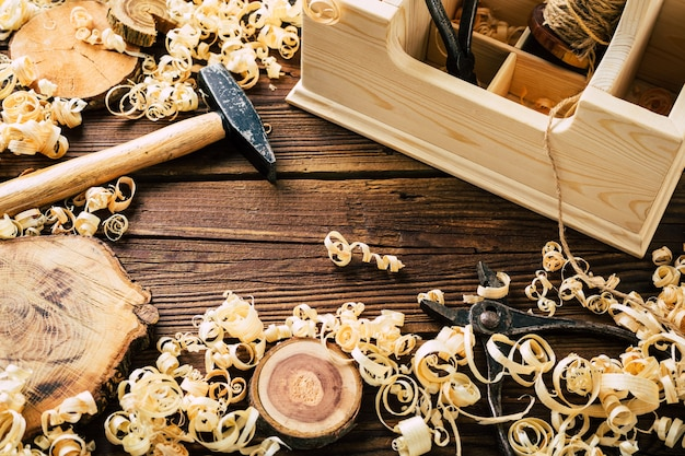Do it yourself wood. woodworking workshop. diy. wood shavings and carpentry tools. copy space. high quality photo