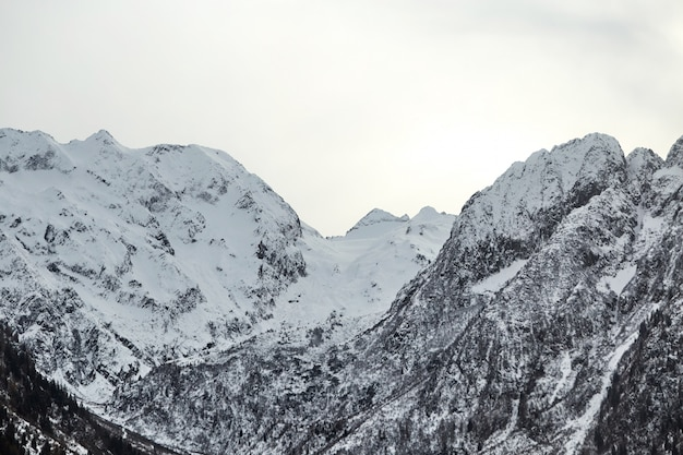 Italian alps mountains covered in snow