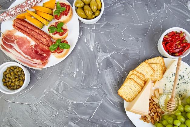 Italian antipasti wine snacks set. antipasto catering platter