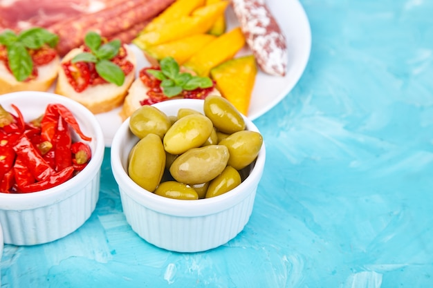 Italian antipasti wine snacks set. antipasto catering platter.