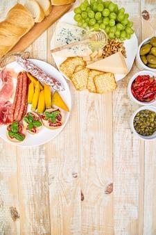 Italian antipasti wine snacks set.