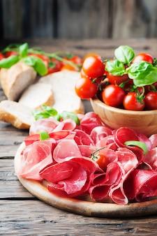 Italian antipasto with ham and bresaola