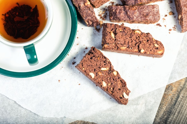 Italian biscotti cookies and tea on the table