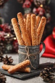 Italian bread sticks with sesame