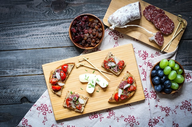 Italian bruschetta made with toasted slices of bread with cherry tomatoes
