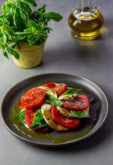 Italian caprese salad with mozzarella and tomatoes. concrete. healthy food.