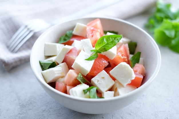 밝은 배경에 얇게 썬 토마토 모짜렐라 바질 올리브 오일을 곁들인 이탈리아 카프레제 샐러드