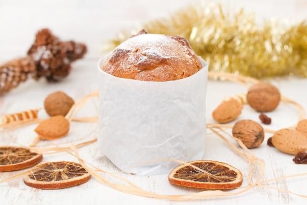 Italian christmas dessert on white wood