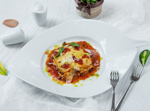 Italian classic lasagna in the plate