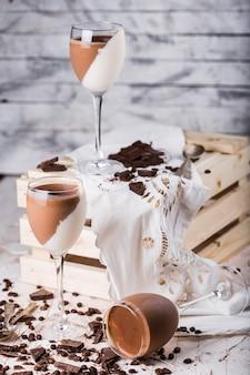 Итальянский десертный шоколад и ваниль панна котта