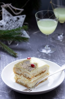 Italian dessert tiramisu, made with matcha tea and limoncello
