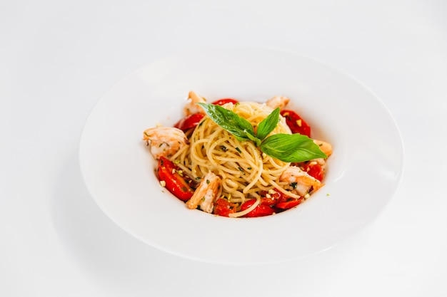 Italian dish spaghetti pasta with shrimps