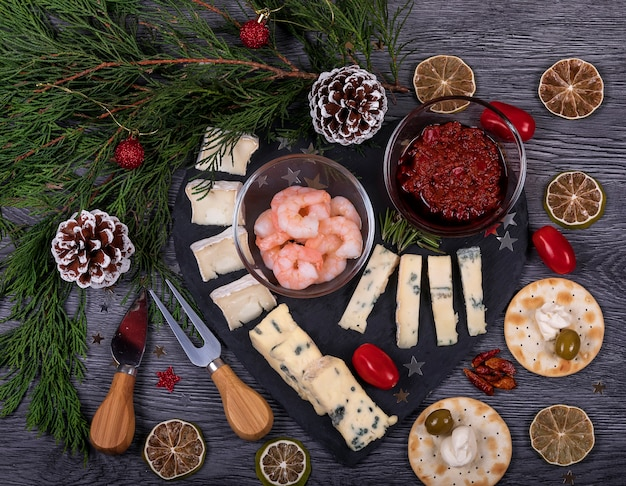 Italian food flat lay with christmas decor