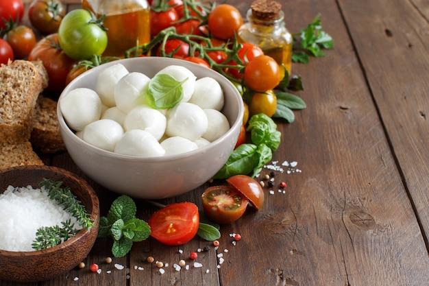 木の上のカプレーゼサラダのためのイタリアの食材をクローズアップ